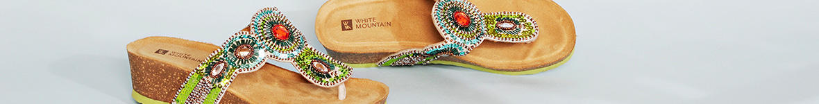White Mountain Beaded Sandals